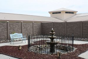 Fountain outside Memory Care at The Cove at Tavares Village in Tavares, FL