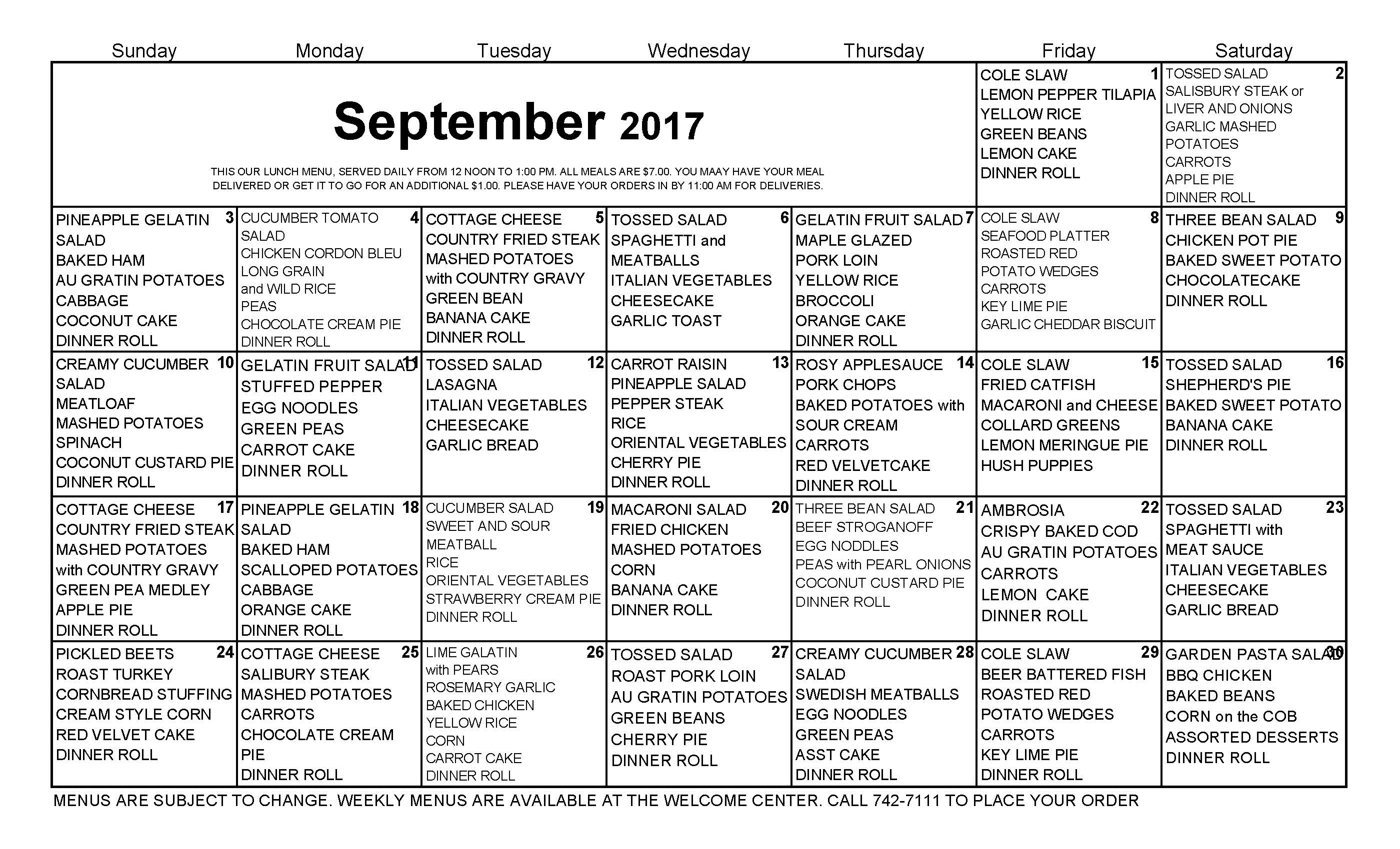 Lunch Calendar for The Cove Assisted and Independent Living Tavares Florida