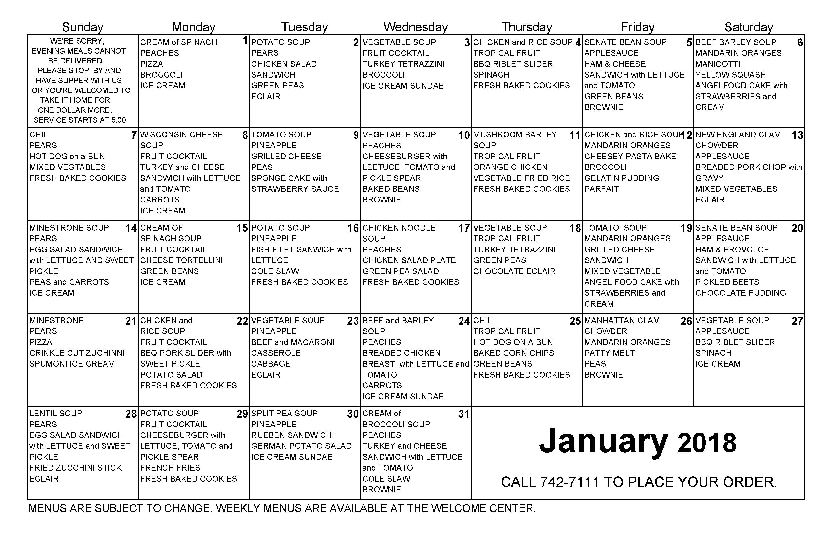 January 2018 Dinner Calendar for The Cove Assisted and Independent Living Tavares Florida
