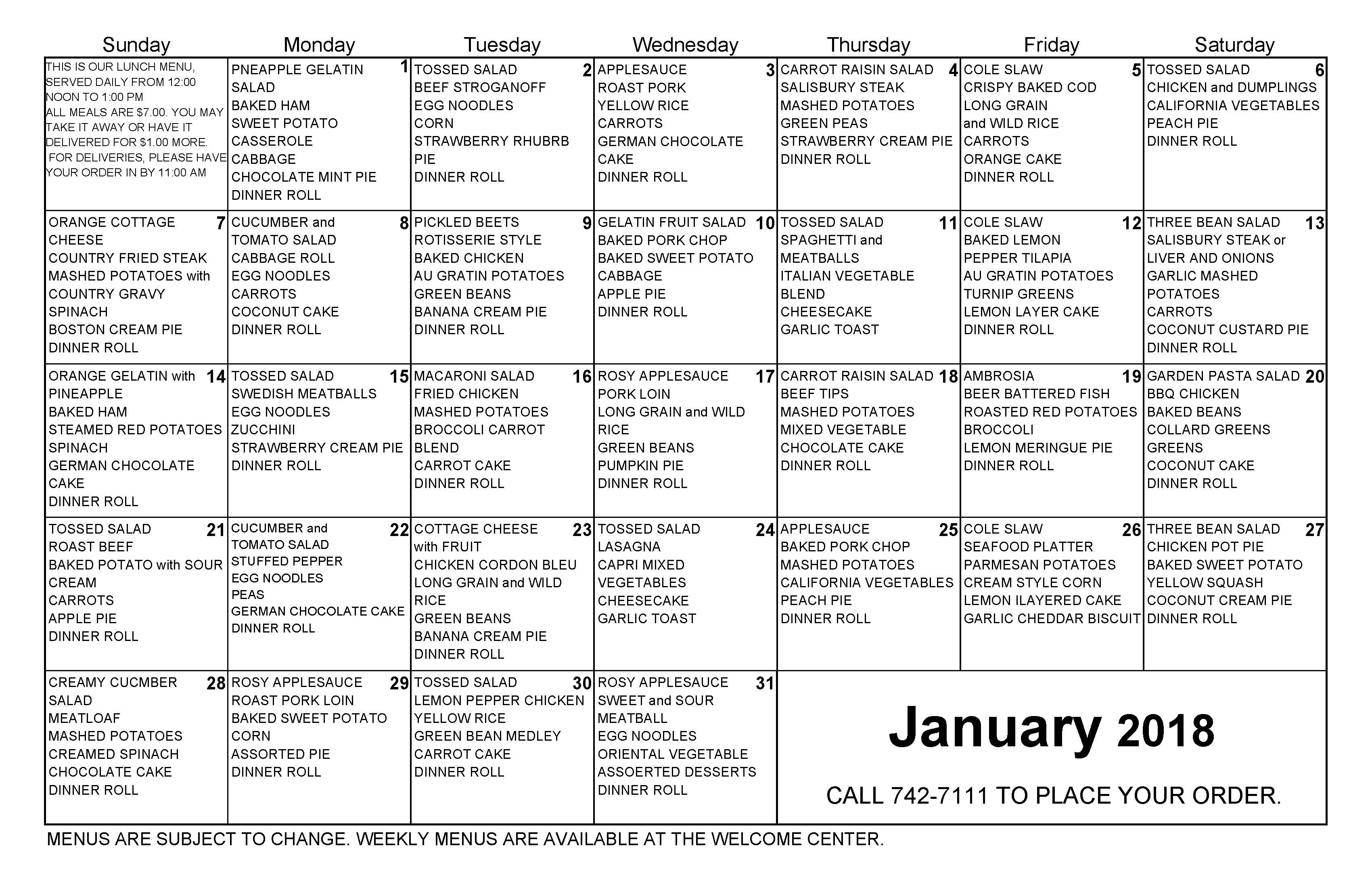 January 2018 Lunch Calendar for The Cove Assisted and Independent Living Tavares Florida