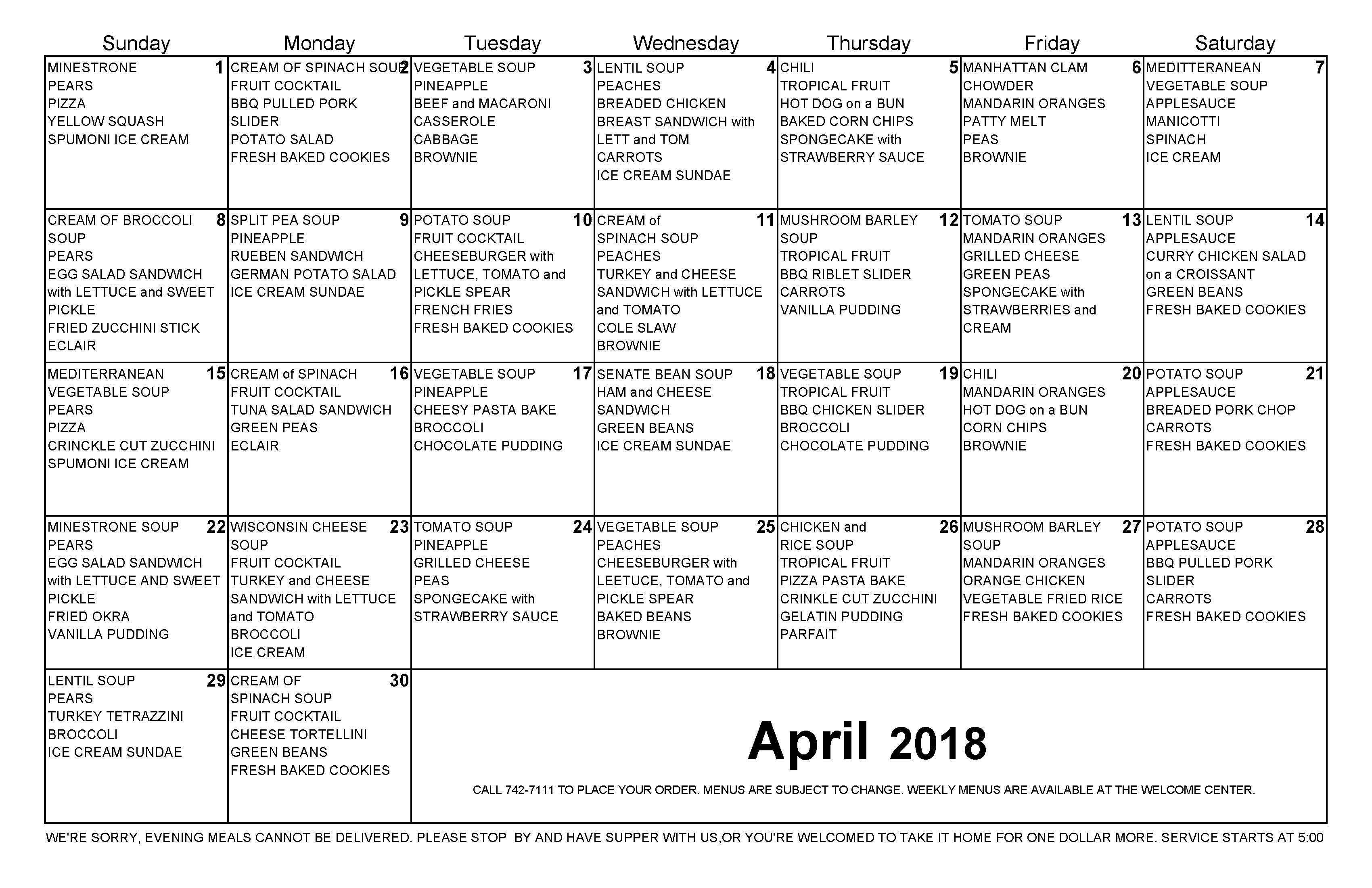 April 2018 Dinner Calendar for The Cove Assisted and Independent Living Tavares Florida