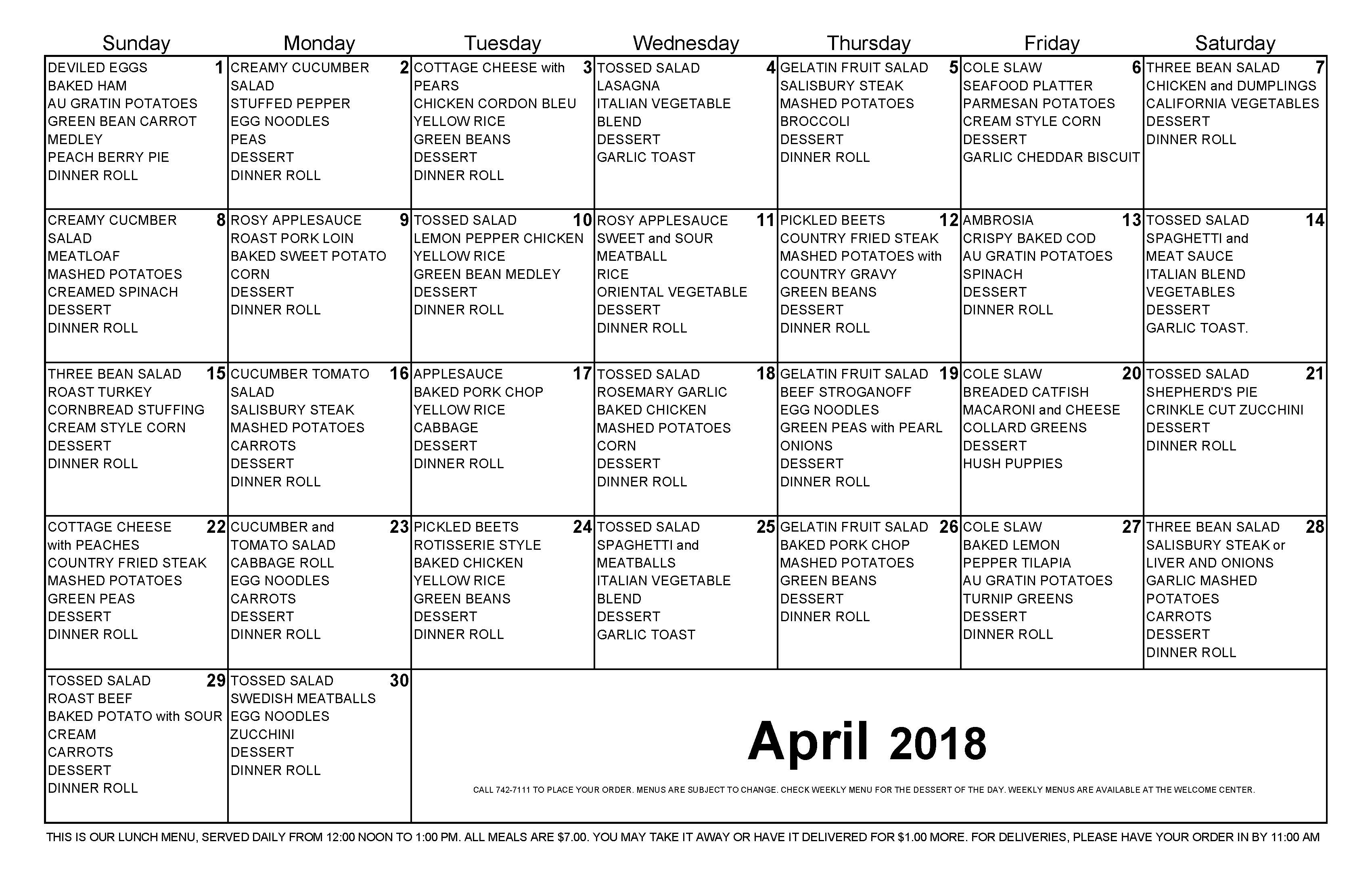April 2018 Lunch Calendar for The Cove Assisted and Independent Living Tavares Florida