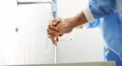 Nursing Staff Member Washing Hands