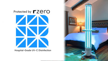 Powered by RZero Hospital Grade Disinfection and photo of rzero arc unit